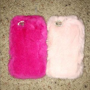 2 pink fur iPhone 6/7 plus cases
